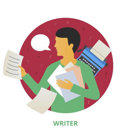 writer: Writer, vector illustration