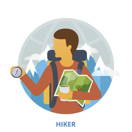 hiker: Hiker, vector illustration