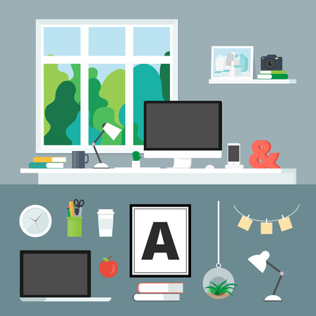 modern office interior: Office and home workplace flat style modern vector illustration for web, print, infographic, design. Create your own workplace.