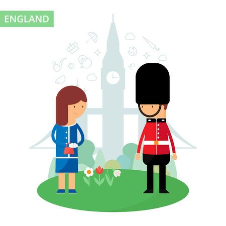 english culture: England travel vector illustration, flat style