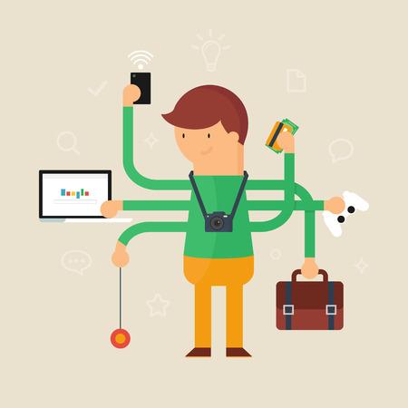 tasks: Multitasking man vector illustration, flat style Illustration