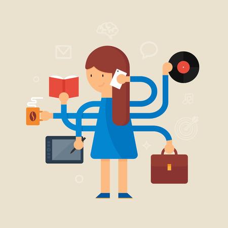 multitask: Multitasking woman vector illustration, flat style