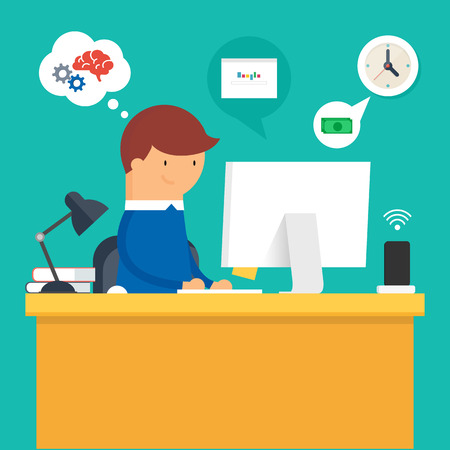 Vector illustration of a man sitting at the desktop and working on the compute, flat style Иллюстрация