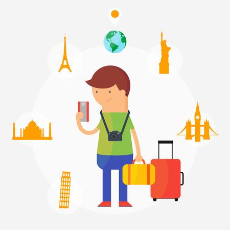 ilustracion: Viajando ilustraci�n vectorial, estilo plano