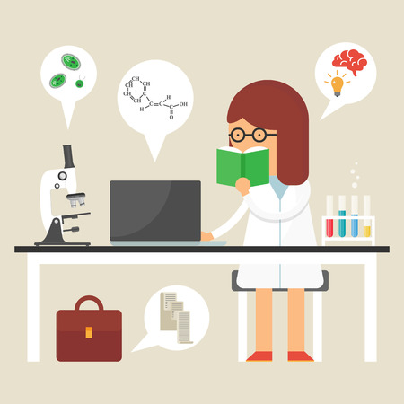 female scientist: Vector illustration of a scientist at work, flat style