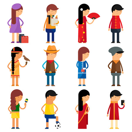 nationality: People nationality vector character set Illustration