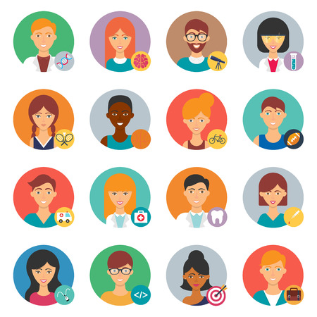 worker cartoon: Professions, vector avatars set Illustration
