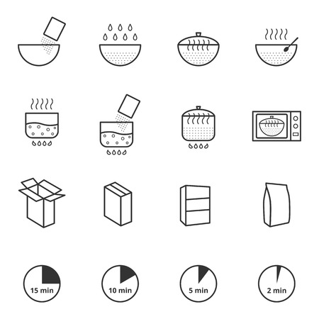 Cooking instruction icons set