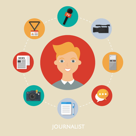 Journalist, character illustration, icons. Vector flat style