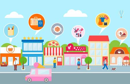empleos: La pequeña empresa, ilustración vectorial de una ciudad - hotel, café, pizza, tienda, mercado, salón de belleza
