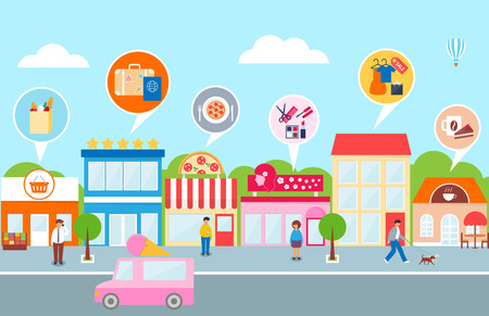 illustration people: Small business, vector illustration of a town - hotel, cafe, pizza, shop, market, beauty salon