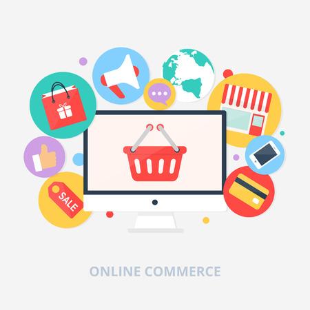 Online winkelen concept vector illustratie, vlakke stijl Stock Illustratie