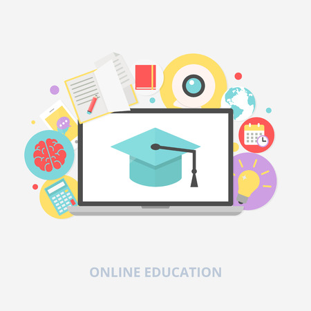 Online education concept vector illustration, flat style