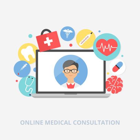 farmacia: Online consulta m�dica concepto de ilustraci�n vectorial, estilo plano Vectores