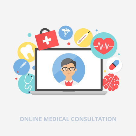 pharmacy symbol: Online medical consultation concept vector illustration, flat style