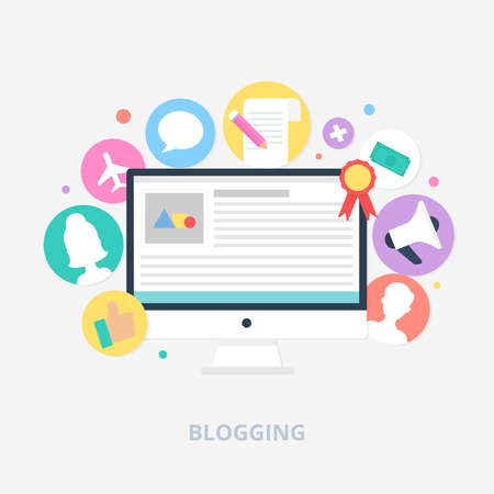 article marketing: Blogging concept vector illustration, flat style