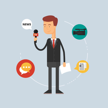 press conference: Character - reporter, journalism concept. Vector illustration, flat style Illustration