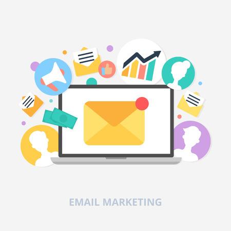 redes de mercadeo: El email marketing concepto de ilustración vectorial, estilo plano Vectores