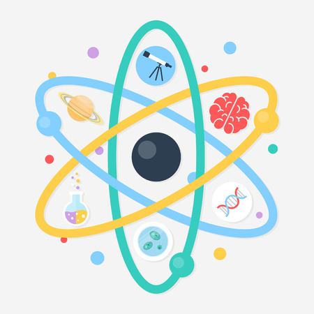 Science abstract vector illustration, flat style Vector