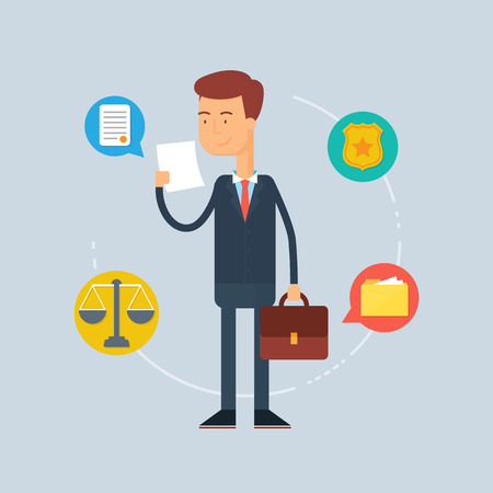 lawyer court: Character - lawyer, law concept. Vector illustration, flat style
