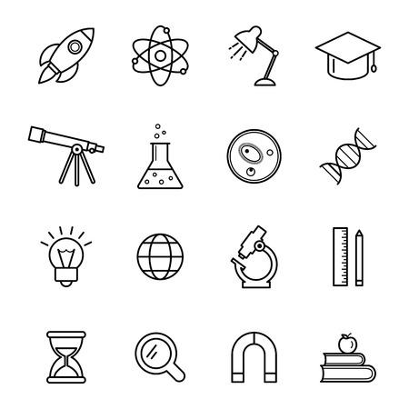 Science line icons set Vektorové ilustrace