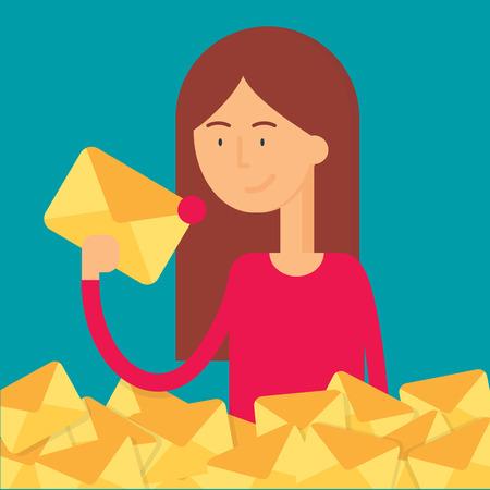 newsletter: Vector illustration of a woman holding an envelope, newsletter concept