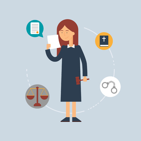Character - judge, law concept. Vector illustration, flat style Vector