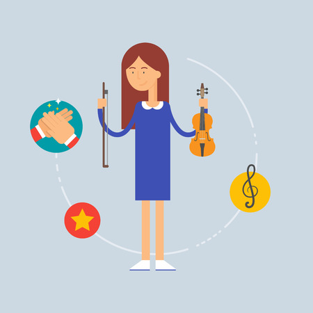 Character - musician, music concept. Vector illustration, flat style Vector