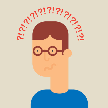 confuse: Confused man vector illustration