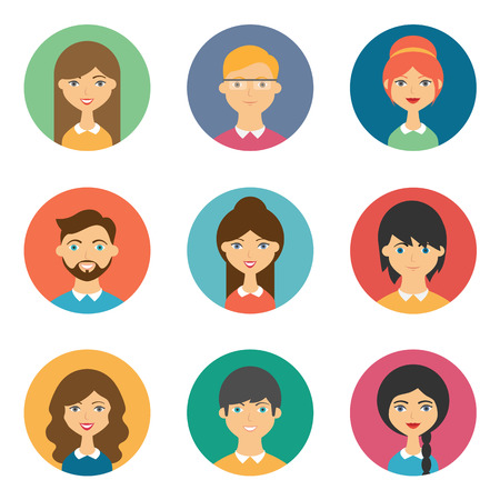 visage femme profil: Ensemble de avatars vectorielles