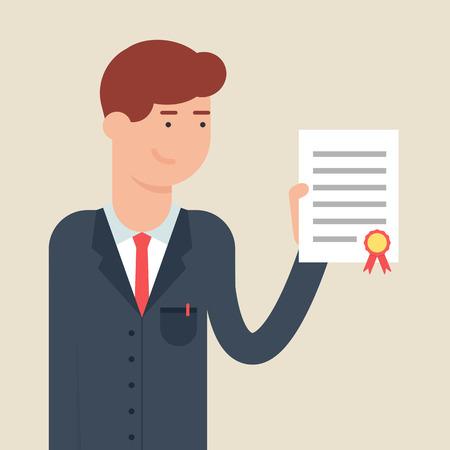 rewarding: Vector illustration of a businessman holding a document