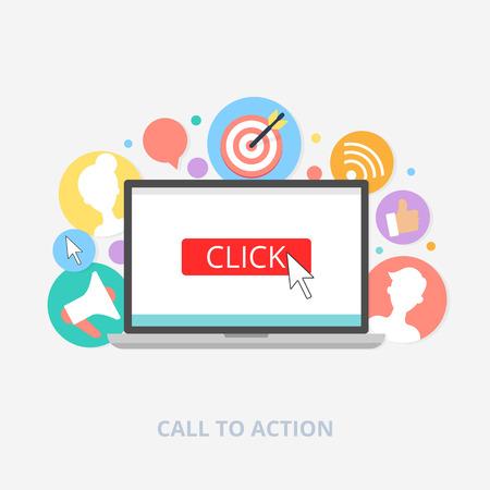 acion: Llame al concepto de acción, ilustración vectorial