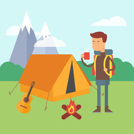 Vector illustration of a hiker standing near the tent in a forest, camping concept Vector