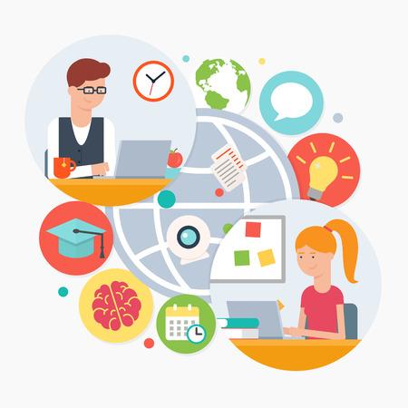 E-learning, online education Vettoriali