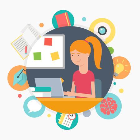 Online onderwijs, e-learning concept, vector illustratie Stock Illustratie