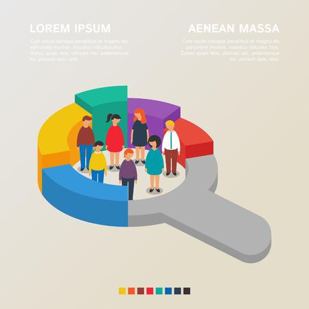 grafica de pastel: Recursos humanos y conceptos de estadísticas sociales, ilustración vectorial estilo plano