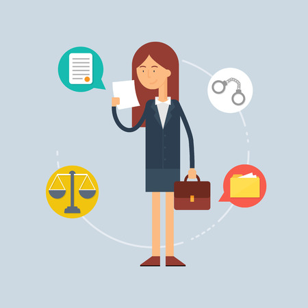 handcuffs woman: Character - lawyer, law concept. Vector illustration, flat style