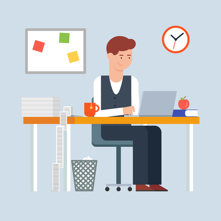 workday: Workday and workplace concept. Vector illustration of a man in the office