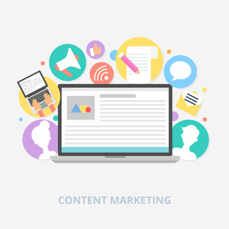 Content marketing concept, vector illustration Çizim