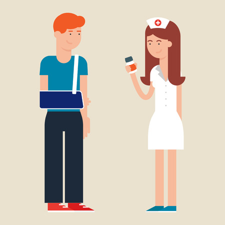 medical staff: Vector illustration of a nurse and a patient
