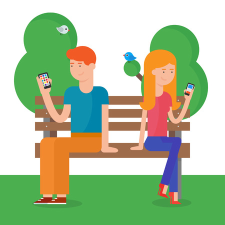 man using computer: Modern vector illustration of a man and a woman using smartphones Illustration