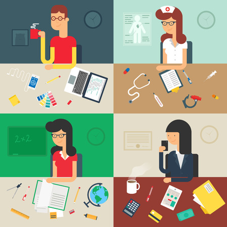 Professions: web developer, nurse, teacher, businessman. Vector illustration, flat style