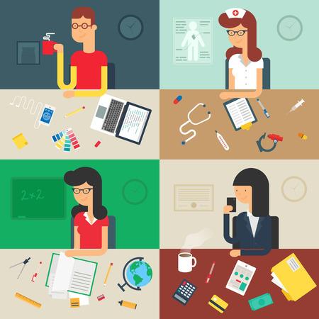 maestra ense�ando: Profesiones: desarrollador web, enfermera, maestro, hombre de negocios. Ilustraci�n del vector, estilo plano