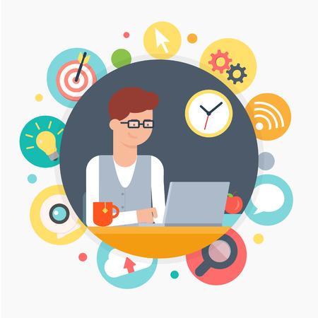 Web developer, programmeur, ontwerper. Vector illustratie, web ontwikkeling concept