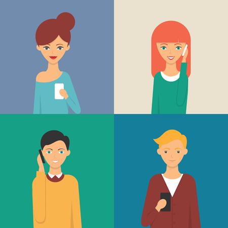 Vector illustration of people using smartphones Illustration
