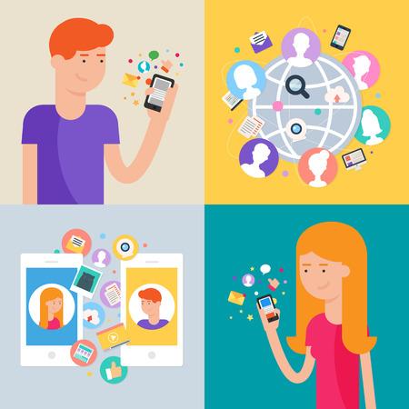 Sociaal netwerk en social media marketing concept, set van vector illustraties