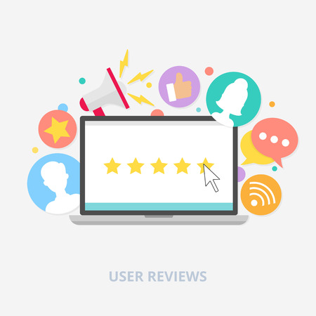 User reviews concept, vector illustration Vectores