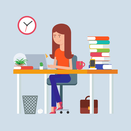 woman hard working: Workday and workplace concept. Vector illustration of a woman in the office