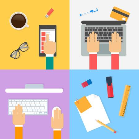espacio de trabajo: Espacio de trabajo, el proceso de trabajo. Ilustraci�n del vector, estilo plano