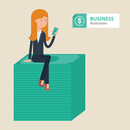 greenbacks: Vector illustration of a businesswoman sitting on a bundle of money, financial concept, success business